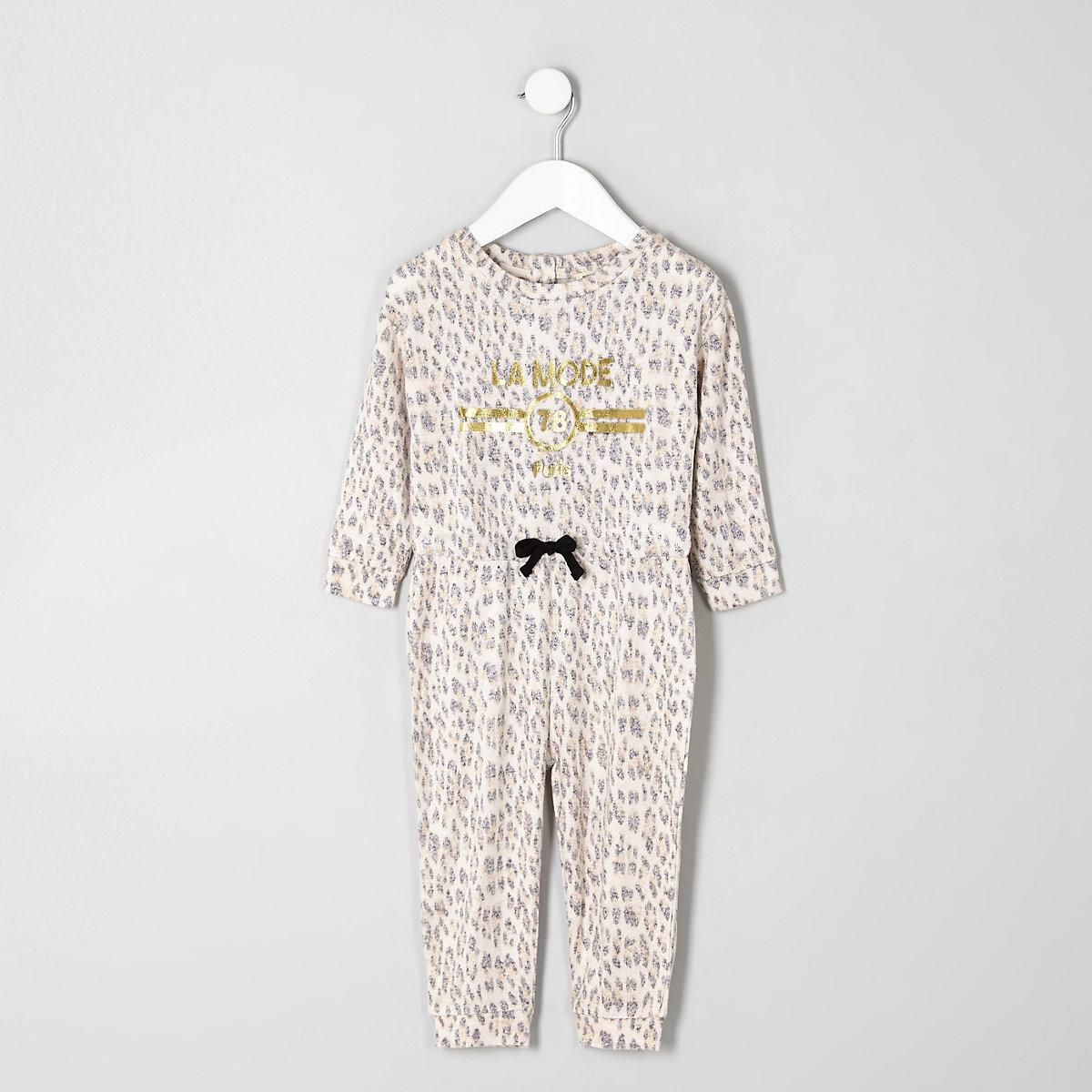 Mini girls brown animal print jumpsuit