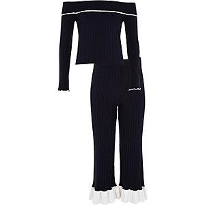 Outfit met marineblauwe gebreide bardottop met ribbels voor meisjes