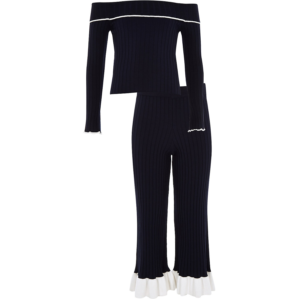 Girls navy knit ribbed bardot top outfit