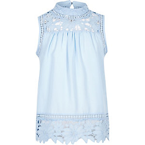 Girls blue high neck crotchet top