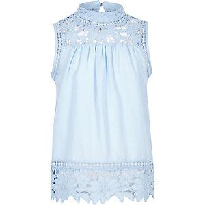 Blauwe hoogsluitende gehaakte top voor meisjes