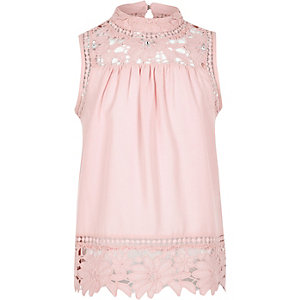 Girls pink high neck crotchet top