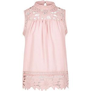 Girls pink high neck crotchet top