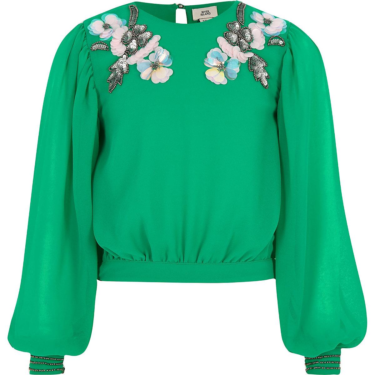 Girls green embellished neck top