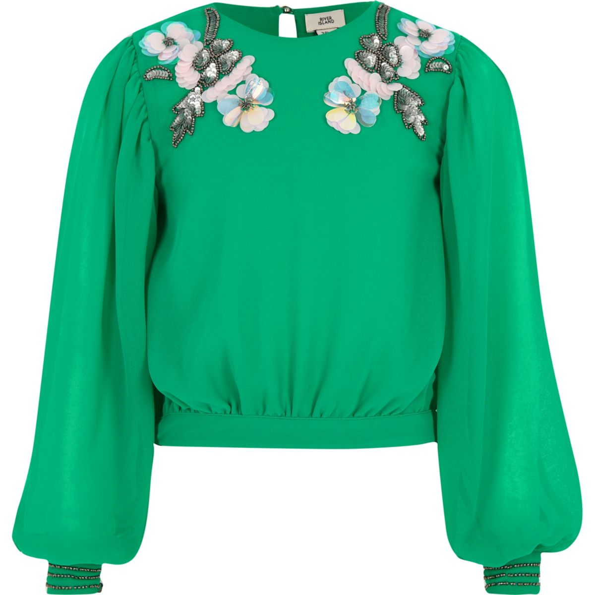 Girls green embellished neck top