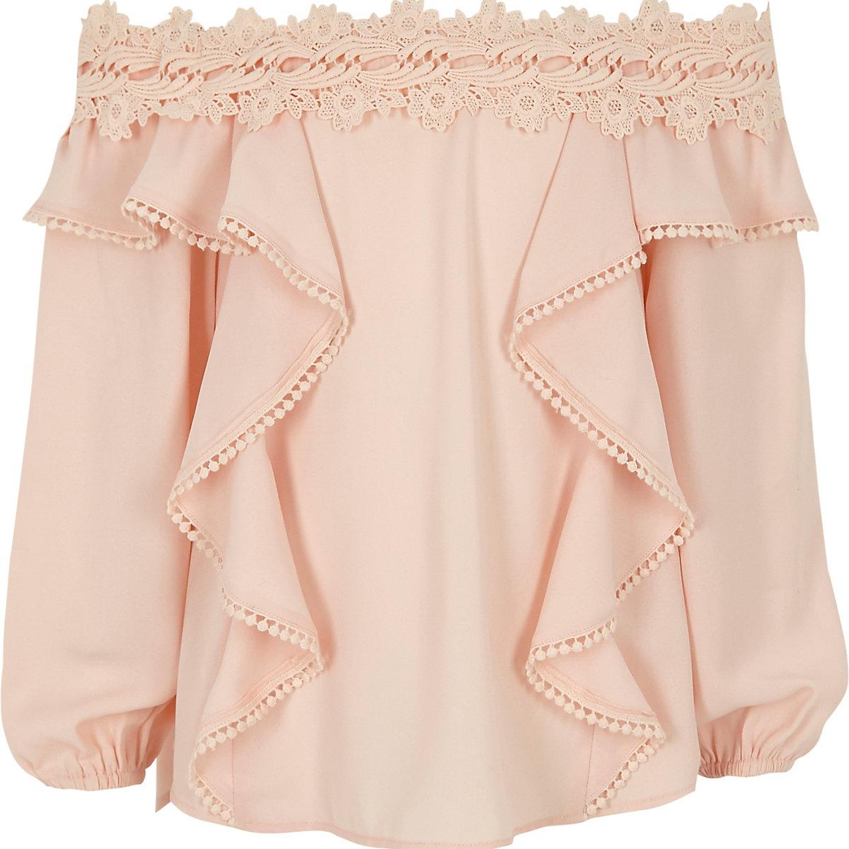 Girls pink floral lace trim bardot top