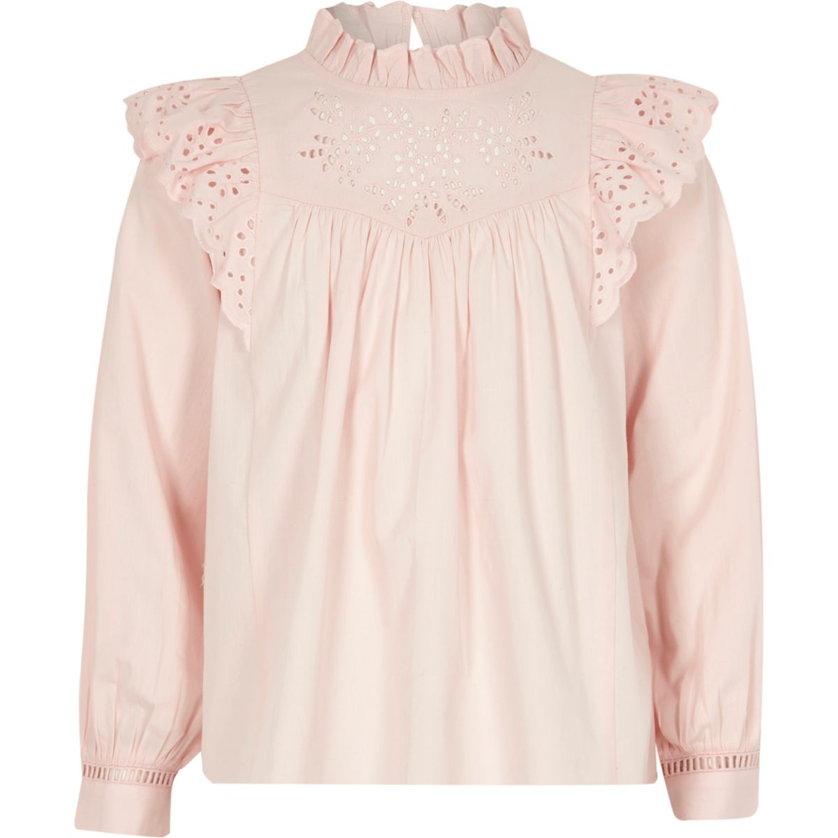 Girls pink broderie long sleeve blouse