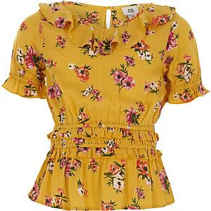 Girls yellow floral shirred waist top