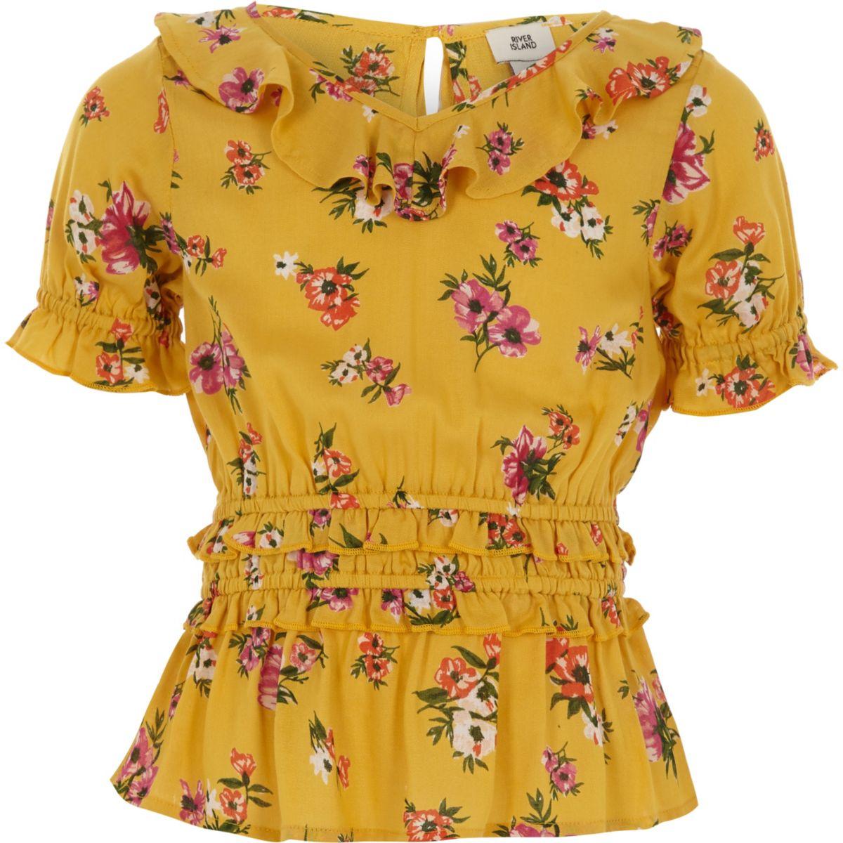 Top à fleurs jaune froncé à la taille pour fille