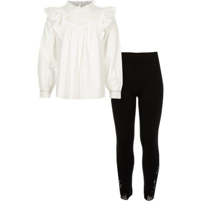 Girls Cream Embroidery Blouse Outfit by River Island