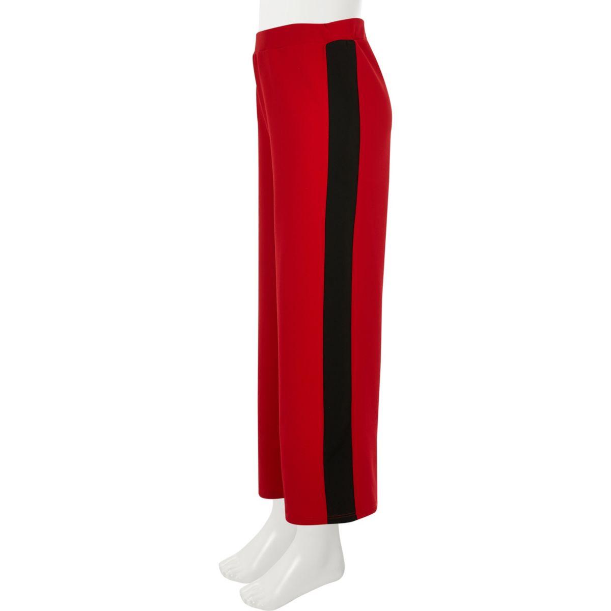 Girls red wide leg side stripe trousers