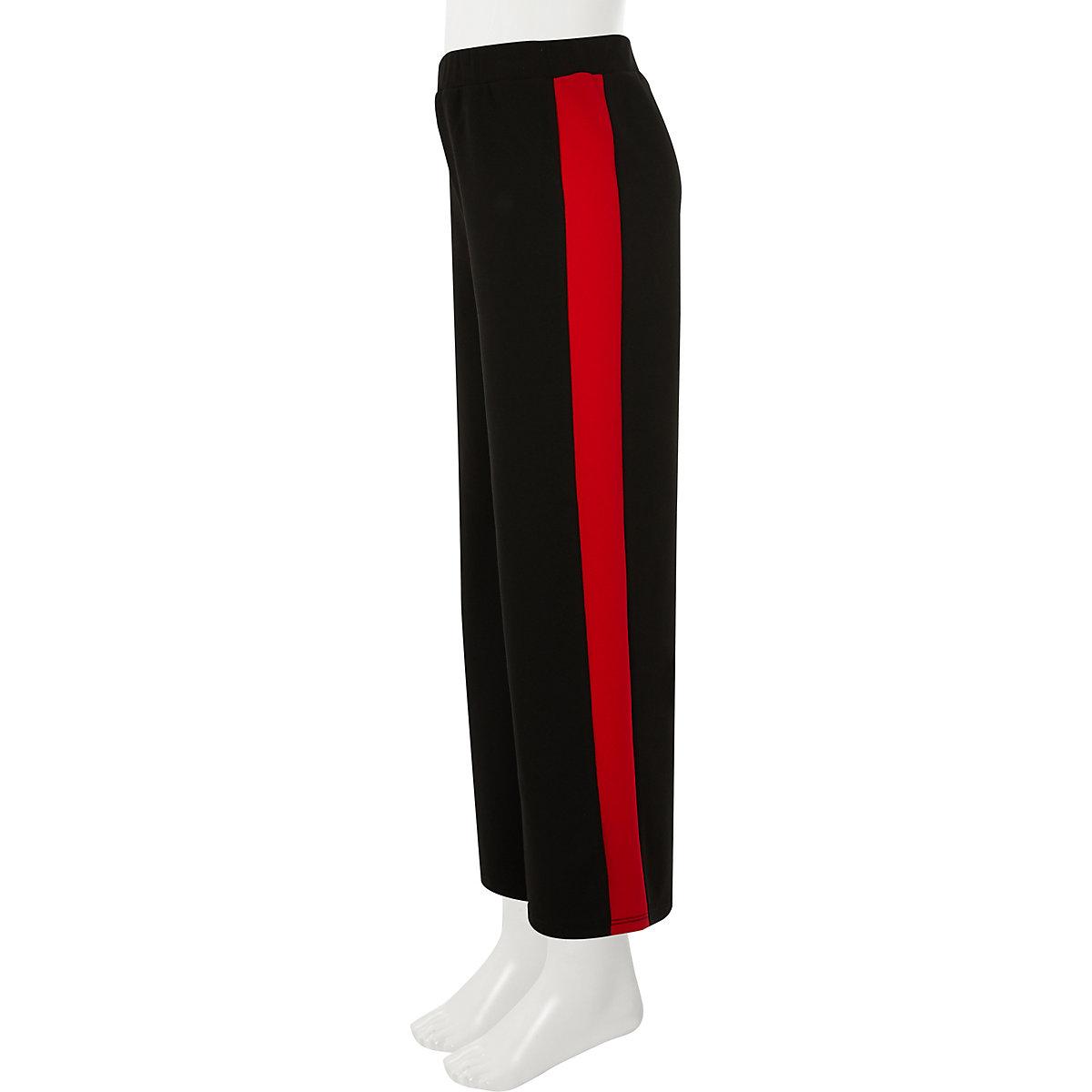 Girls black wide leg side stripe trousers