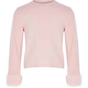 Girls light pink faux fur cuff top