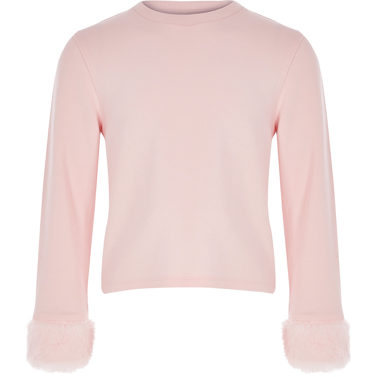 Girls light pink faux fur cuff top