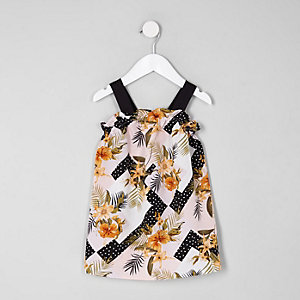 Mini girls black floral print trapeze dress