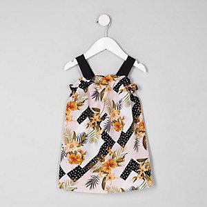 Mini girls black floral print trapeze dress