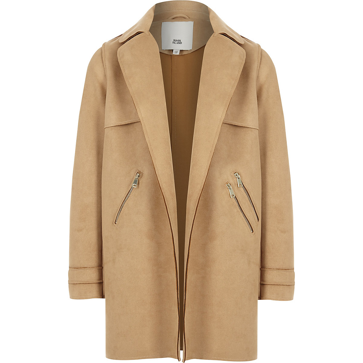 Girls brown faux suede trench coat