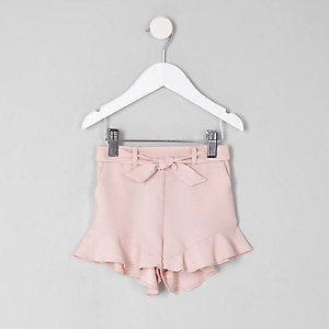 Short rose à ourlet effiloché pour mini fille