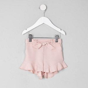 Mini - Roze short met ruches aan de zoom voor meisjes