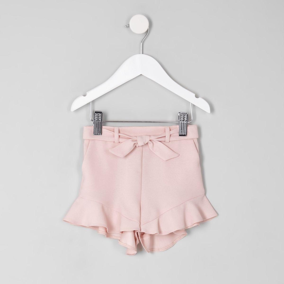 Mini girls pink frill hem shorts