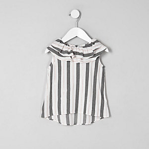 Mini girls grey stripe tiered collar top