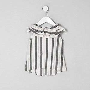 Mini - Grijze gestreepte top met gelaagde kraag voor meisjes