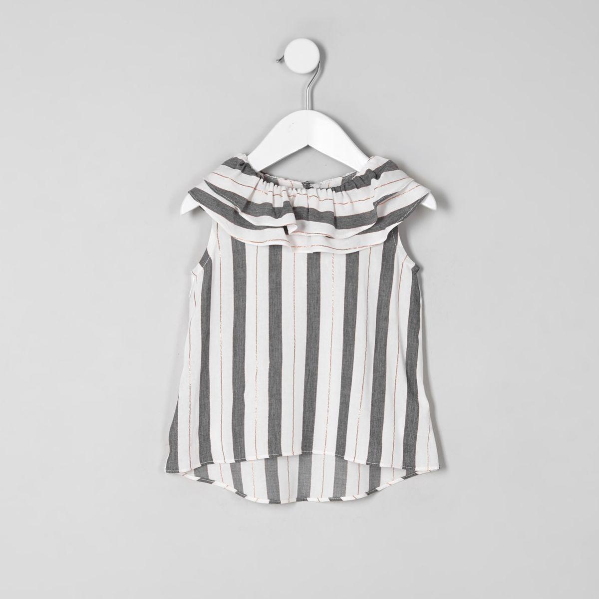 Mini girls grey stripe tiered collar top