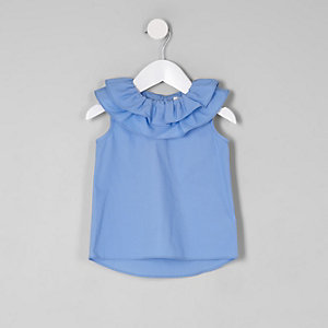 Mini girls blue clown collar sleeveless top