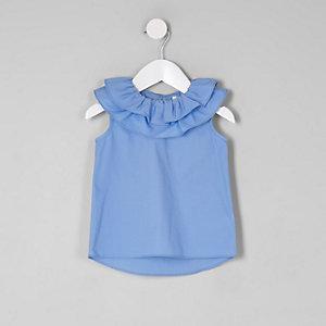 Mini - Blauwe mouwloze top met clownskraag voor meisjes