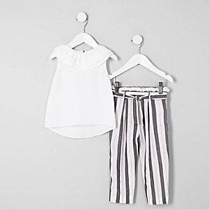 Mini - Outfit met witte gesmokte top met ruches voor meisjes