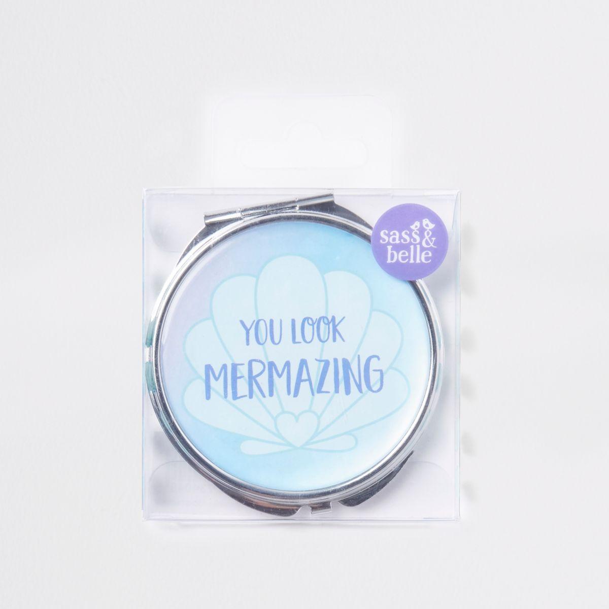 Girls blue mermaid pocket mirror