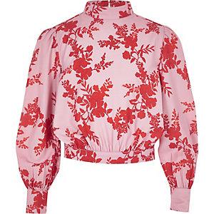 Pinke, hochgeschlossene Bluse mit Blumenmuster