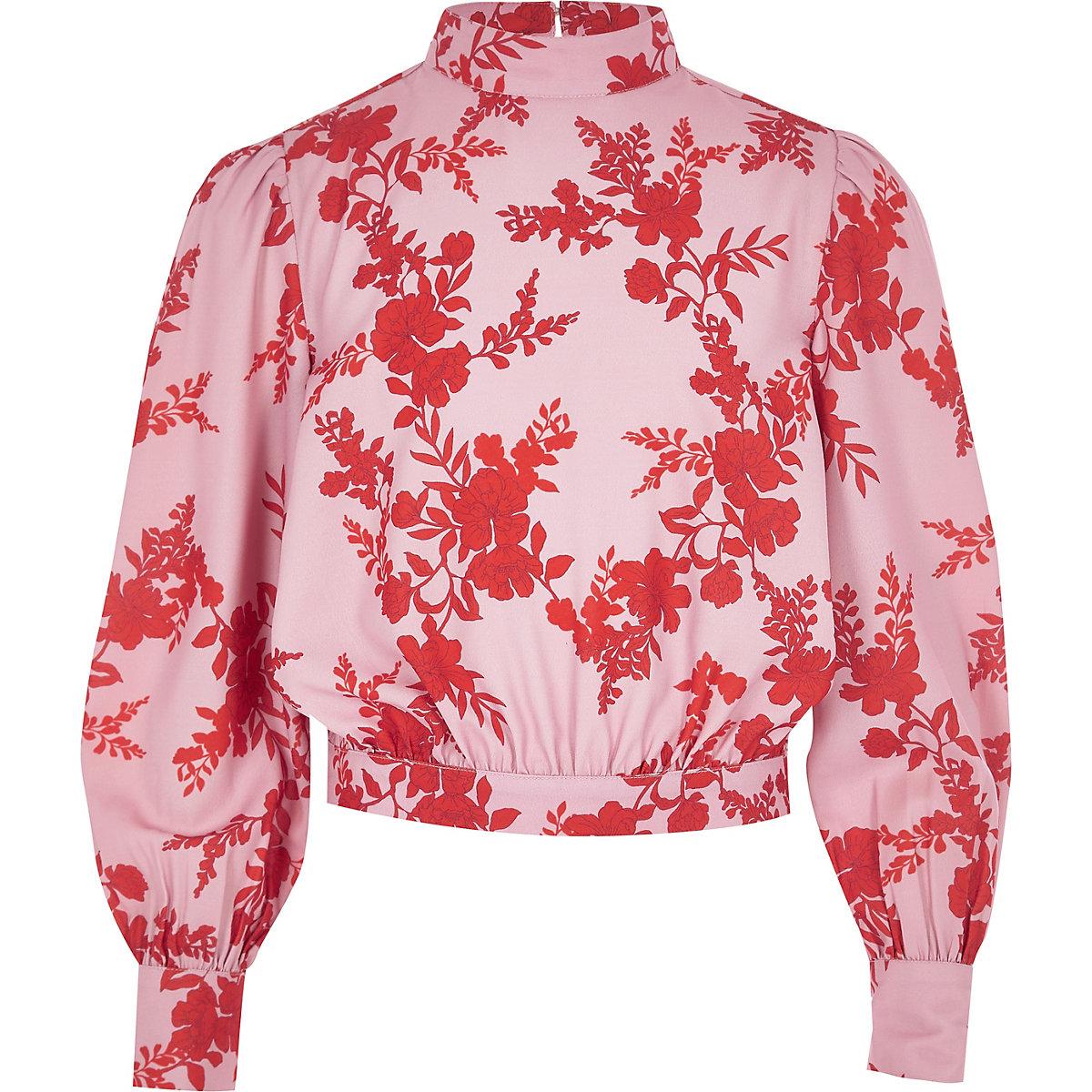 Girls pink floral high neck blouse