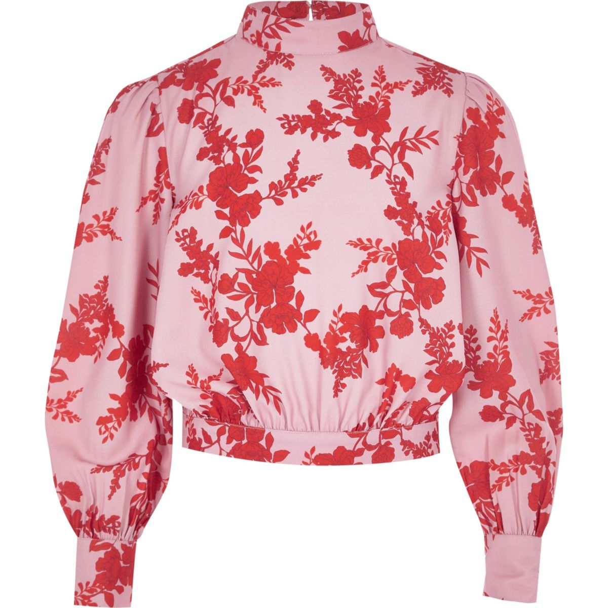 Girls pink floral high neck blouse