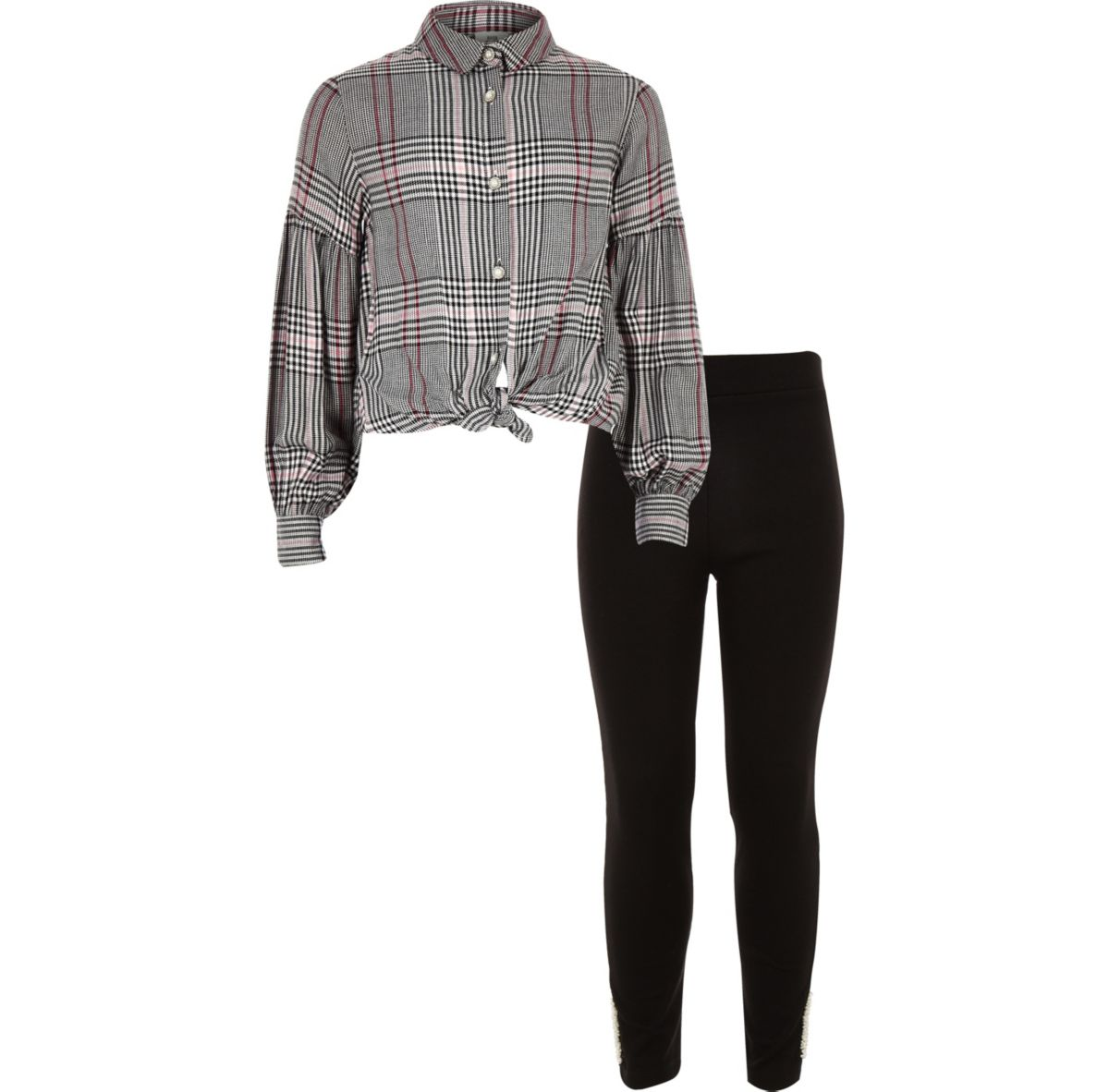 Girls pink check shirt and leggings outfit