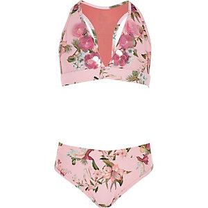 Girls pink floral print triangle bikini set