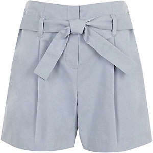 Girls blue poplin tie front shorts