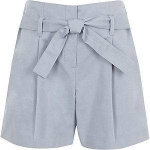 Blauwe poplin short met strik voor voor meisjes