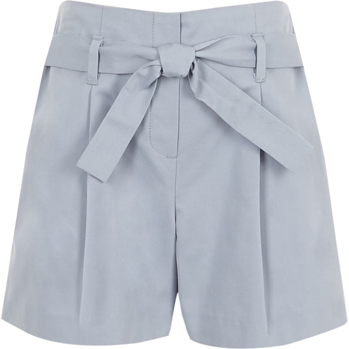 Girls blue poplin tie front shorts