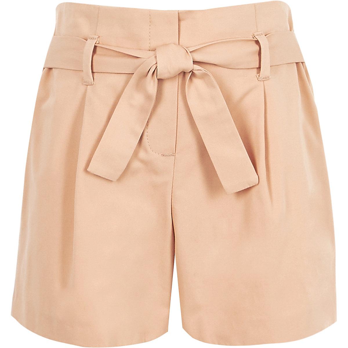 Girls pink poplin tie front shorts