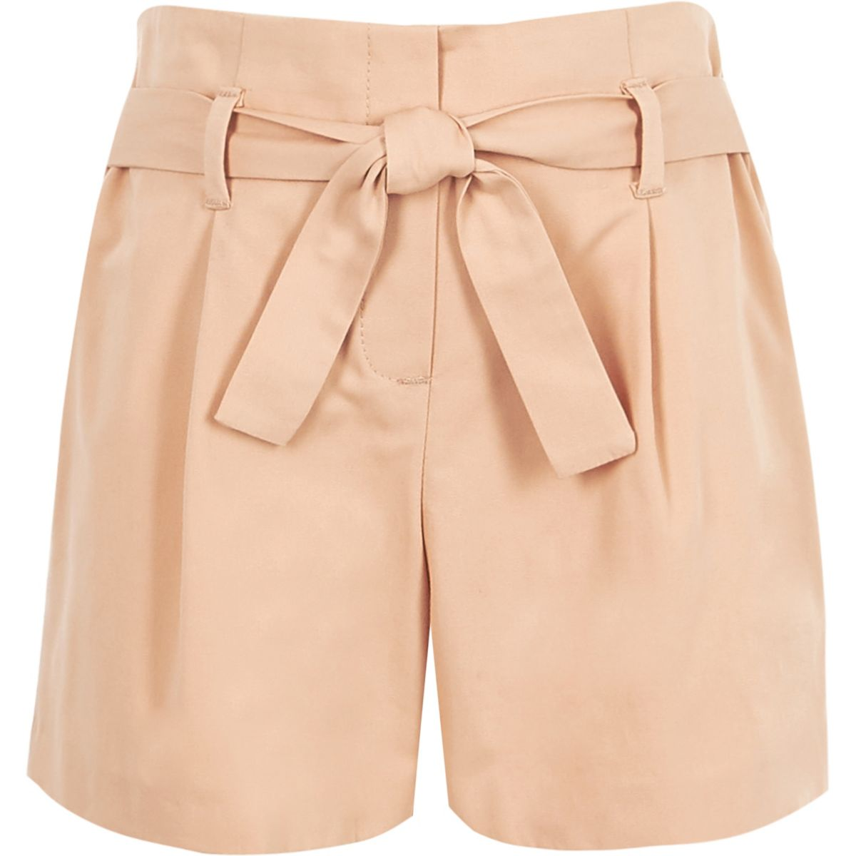 Girls pink poplin tie front shorts