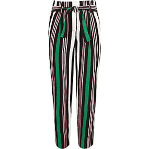 Girls green stripe tie waist tapered pants