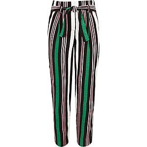 Groene gestreepte smaltoelopende broek met strikceintuur voor meisjes