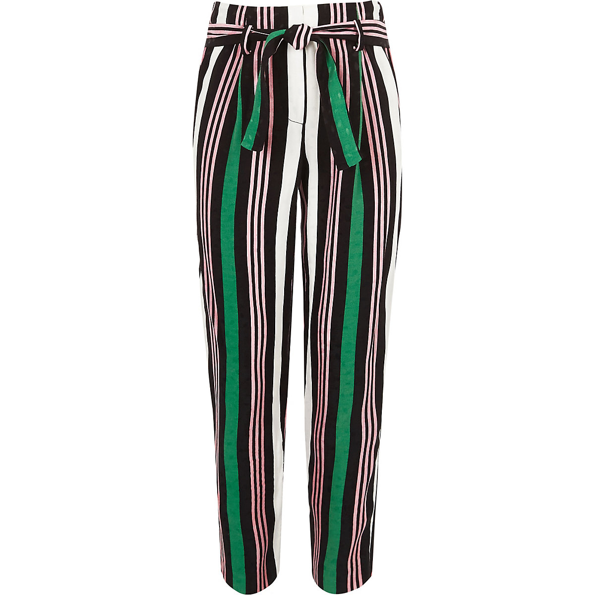 Girls green stripe tie waist tapered trousers