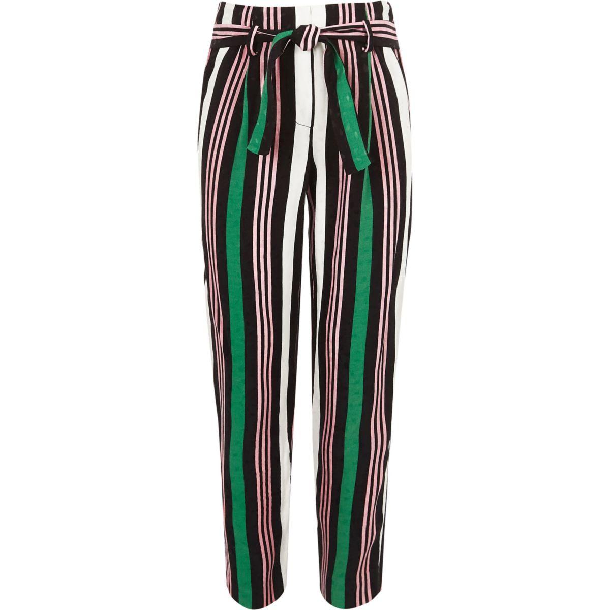 Girls green stripe tie waist tapered trousers