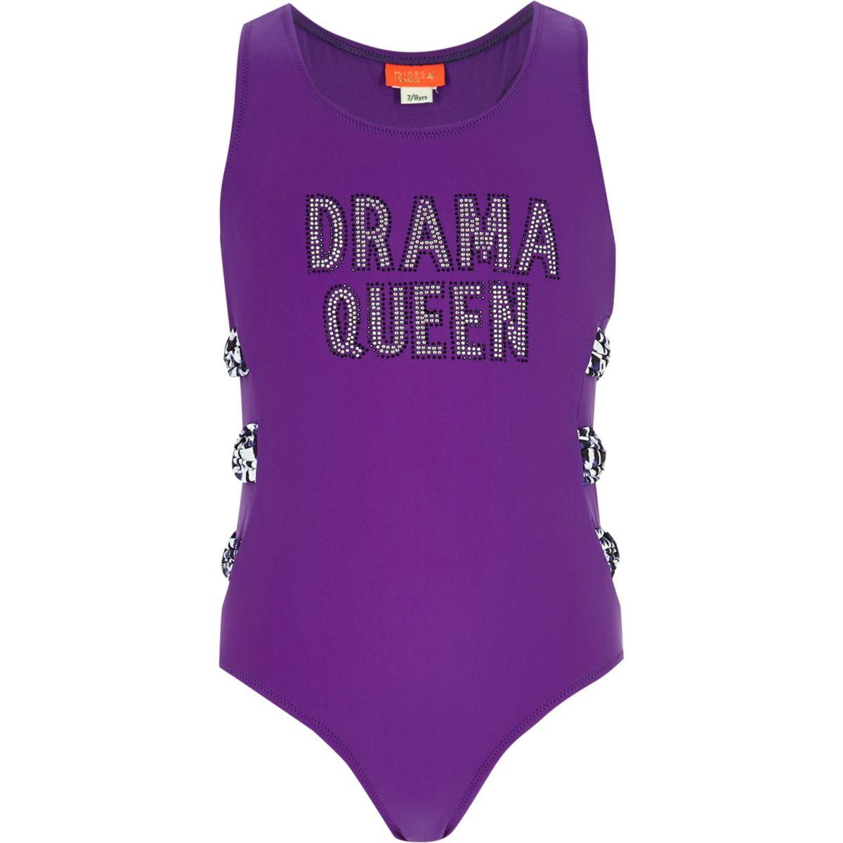 Maillot une-pièce « drama queen » violet pour fille