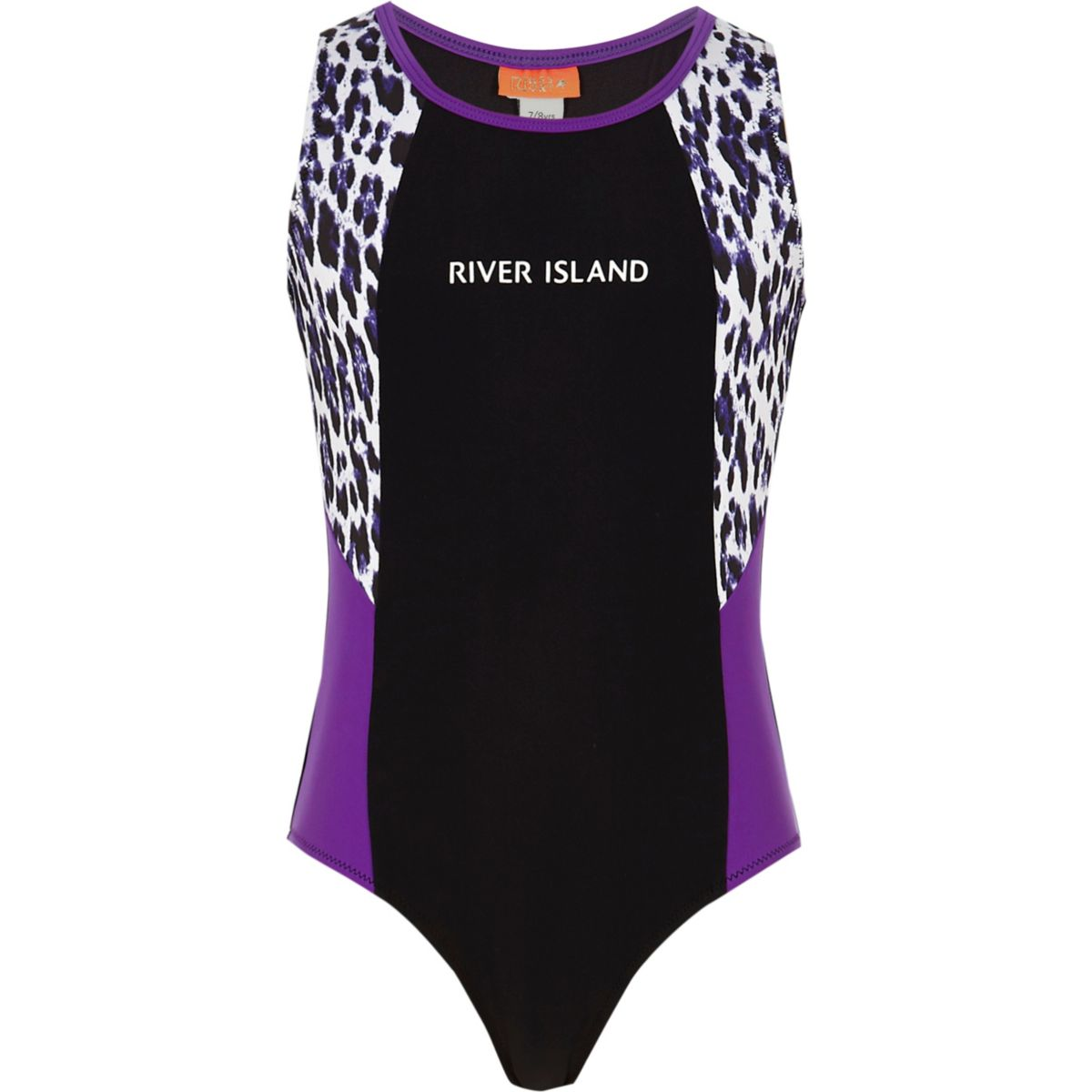 Girls black RI leopard print swimsuit