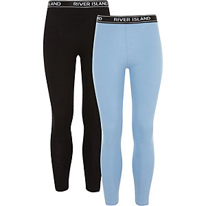 Girls black and blue RI leggings pack