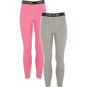 Girls grey and pink RI leggings pack