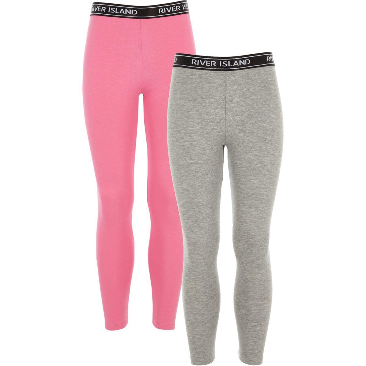 Girls grey and pink RI leggings pack